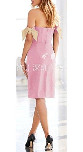 Dalla Midi Rosa Sexy Spalla Delle Solida Donne Bodycon Estate Jaycargogo Vestito q8txnF7x
