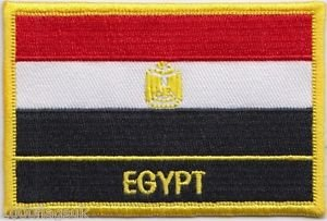 Egypt Flag Sew-On Morale Patch/International Embroidered Travel Patch Collection (Egyptian Iron-on w/Words, 2