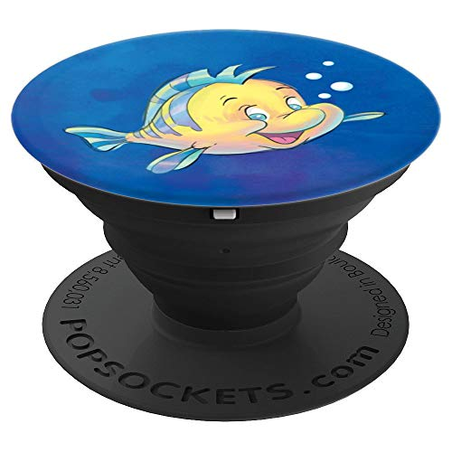 Disney The Little Mermaid Flounder Bubbles Blue Watercolor - PopSockets Grip and Stand for Phones and Tablets ()
