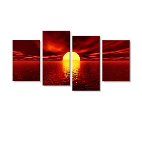 (7CANVAS 4 Pieces Sunset Canvas Wall Art Set Large Modern Seascape Picture Horizontal Wall Decor Stretched Red Ocean Giclee Print Split Sea Landscape Wall Decor for Living Room Dining Room)