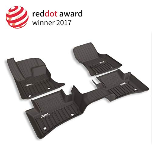 3W Floor Mats for Range Rover Velar (2017-2019) - Full Set Front and Rear 2 Rows Non-Toxic TPE Floor Mats Custom Fit Durable Carpet Liner All Weather for Land Rover, Black