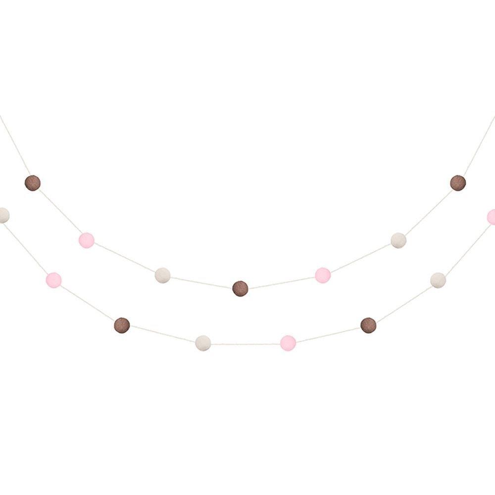 Sehr Mini Pom Pom Garland Bunting Rosa und braun//Schokolade 2m Geburtstag Handwerk
