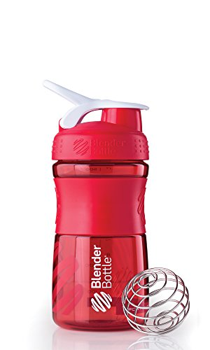 BlenderBottle SportMixer Tritan Grip Shaker Bottle, Red/White, 20-Ounce