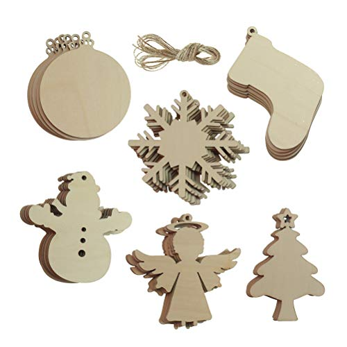 sticro 30 PCS Unfinished Christmas Wooden Ornaments with Twines, Wooden Snowflake/Snowman/ Christmas Tree/Christmas Stocking Cutouts for Kids Craft, Christmas Tree Hanging Decoration -