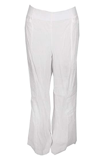 084ac373c0fd INC Womens Linen Regular Fit Wide Leg Pants White 10 at Amazon Women's  Clothing store: