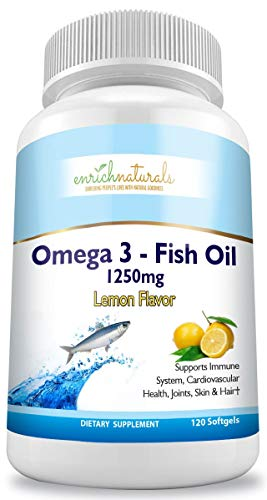 Omega 3 Fish Oil Lemon Flavor Softgels 120 Capsules – 1250mg – Supports Heart and Overall Health – Eases Joint Pain