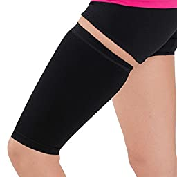 Thigh Compression Sleeve – Hamstring, Quadriceps, Groin Pull and Strains – Running, Basketball, Tennis, Soccer, Sports – Athletic Thigh Support (Single) (L/XL, Black)
