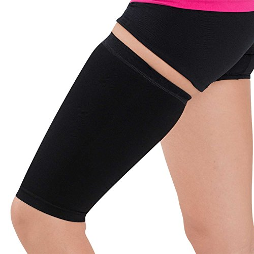 Support Sleeve Thigh - Thigh Compression Sleeve - Hamstring, Quadriceps, Groin Pull and Strains - Running, Basketball, Tennis, Soccer, Sports - Athletic Thigh Support (Single) (S/M, Black)