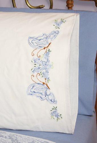 Fairway Needlecraft 83019 Perle Edge Pillowcases, Twin Butterflies Design, Standard, White