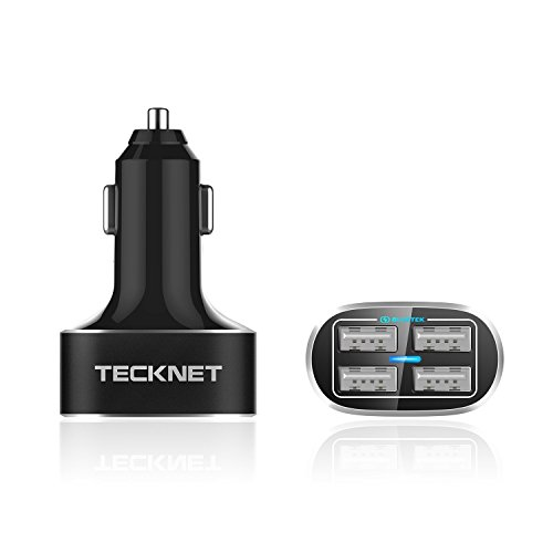 Amazon #LightningDeal 93% claimed: USB Car Charger, TeckNet 4 Port PowerDash D2 9.6A/48W Rapid Travel Adapter with BLUETEK Smart Charging For iPhone, iPad, more mobile phone and tablet