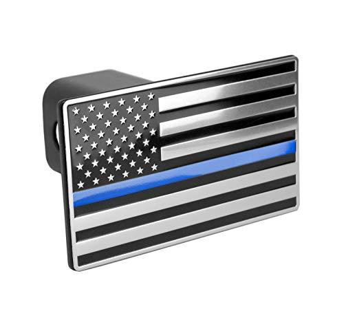 Line Receiver - LFPartS USA US American Flag Emblem Metal Trailer Hitch Cover (Fits 2