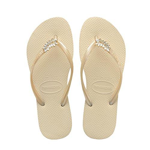 Havaianas Women Slim Crystal - Havaianas Women's Slim Lux Flip Flops Beige Sandal