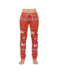 PENATE Men's Women's Christmas Leggings Couple Xmas Printed Fitness Yoga Pants