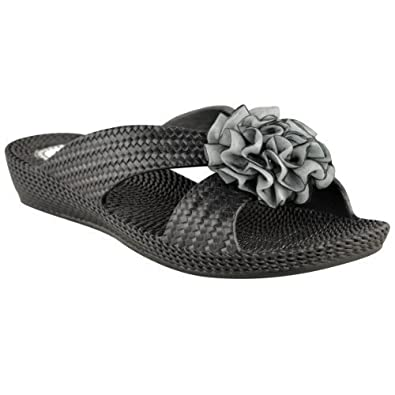 WOMENS LADIES FLOWER MULES FLAT SUMMER SANDALS FLIP FLOPS BEACH JELLY SHOES  SIZE (UK 4 f0cb330bbabc