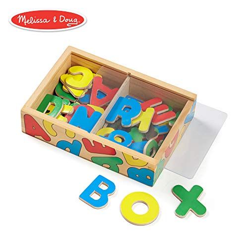Melissa & Doug 52 Wooden Alphabet Magnets in a Box, Developmental Toys, Sturdy Wooden Construction, 52 Pieces, 7.8″ H × 5.45″ W × 1.85″ - Alphabet Kids Magnets For