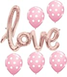love Balloon Banner - Rose Gold (pink) 30 Inches with 5 Pink Polka Dot Latex