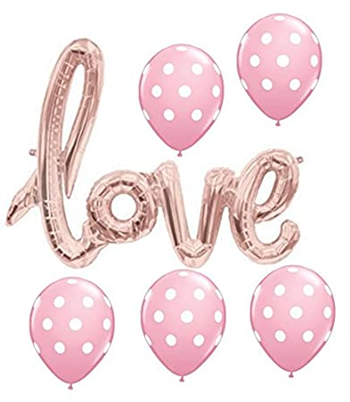 Amazon.com: love Balloon Banner - Rose Gold (pink) 30 Inches with ...