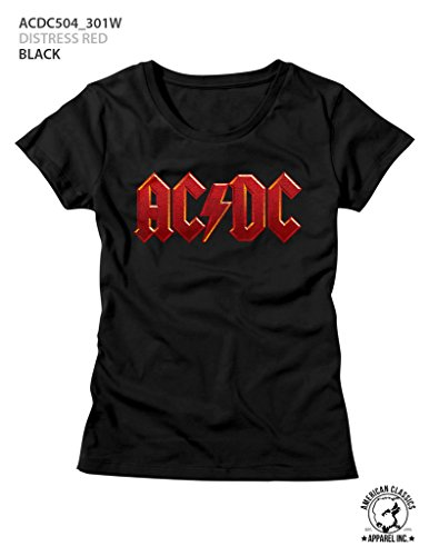 (AC/DC Hard Rock Band Music Group Red Distressed Logo Womens T-Shirt Tee)