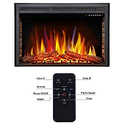 Antarctic Star Electric Fireplace Insert, Freestanding & Recessed Electric Stove Heater, LED Adjustable Flame with Burning Fireplace Logs Touch Screen, Remote Control, Timer, 750W-1500W from Antarctic Star