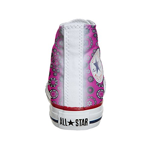 Converse All Star Hi chaussures coutume (produit artisanal) Hot Pink Paysley