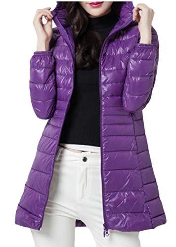 Hooded Packable Purple Puffer Jackets EKU Down Women's Coats Lightweight fAOzzq