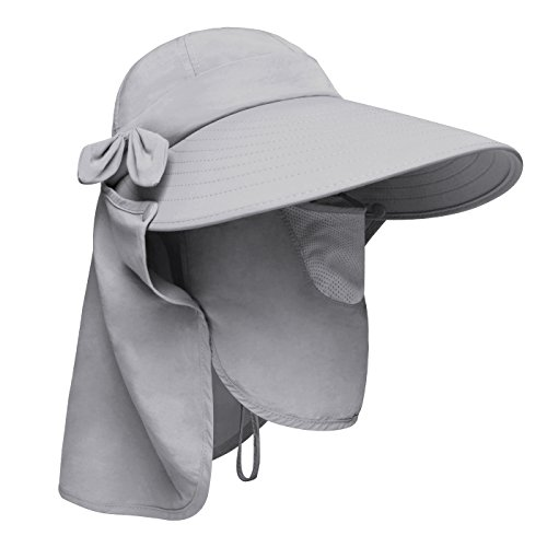 Visor Ball Cap - Lenikis Women's UPF+50 Sun Visor Detachable Flap Hat Foldable Wide Brimmed UV Protection Hat Grey