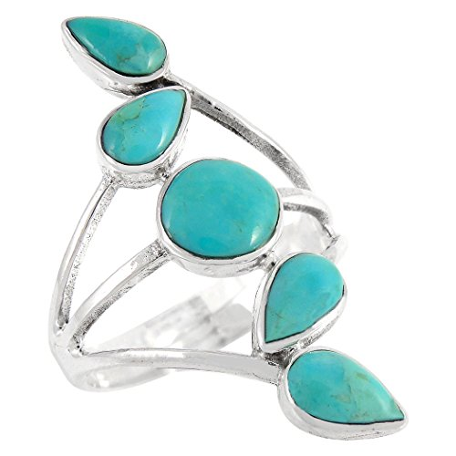 (Turquoise Ring in Sterling Silver 925 & Genuine Turquoise Size 6 to 11)