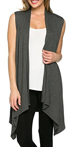 Azules Womens Solid Color Sleeveless Asymetric Hem Open Front Cardigan (Medium, Charcoal)