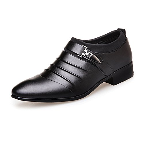 Uomo Color 2018 on foderato Scarpe shoes 43 Scarpe traspirante Jiuyue PU uomo Upper Leather lavoro Fodere EU Dimensione Slip Nero Nero Smooth Pelle da da 7ZnxAxH
