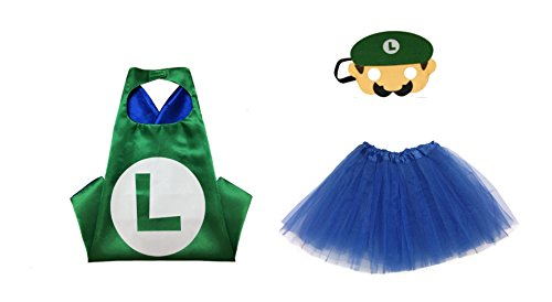 Rush Dance Kids Children's Deluxe Comics Super Hero CAPE & MASK & TUTU Costume (Luigi Green Mari0 (Royal Blue (Luigi Deluxe Childrens Costumes)