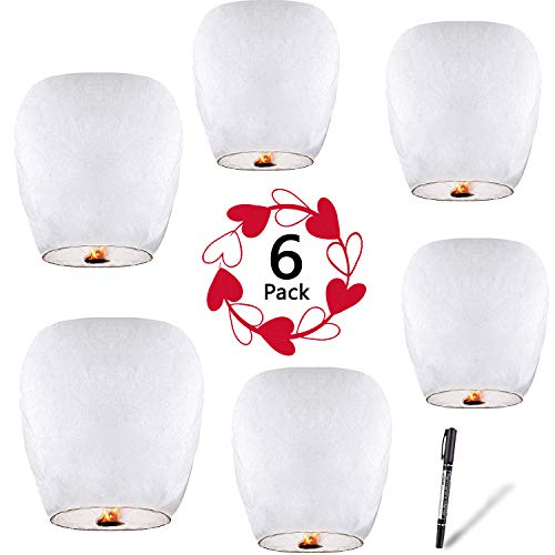 Floating Chinese Lanterns (Chinese Lanterns (6-Pack) 100% Biodegradable - Beautiful Lantern for White for Weddings, Birthdays, Memorials and Much More by)