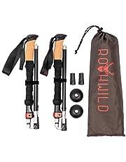 Rothwild Wanderstöcke, Trekkingstöcke aus Aluminium mit Kork-Griff, faltbar, für Damen und Herren, Länge 105-125cm