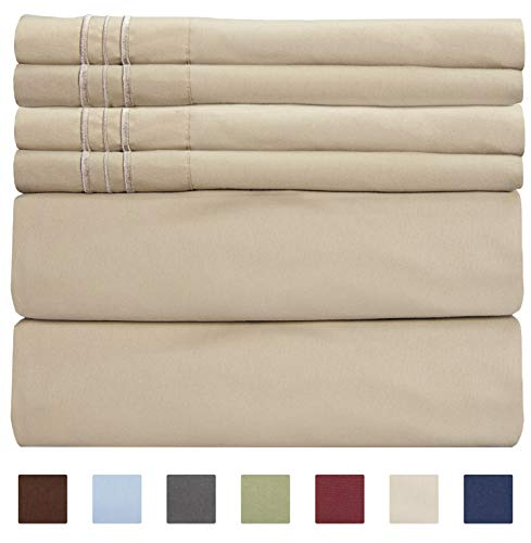 Extra Deep Pocket Sheets - 6 Piece Sheet Set - Queen Sheets Deep Pocket- Extra Deep Pocket Queen Sheets - Deep Fitted Sheet Set - Extra Deep Pocket Queen Size Sheets - Easily Fits Extra Deep Mattress (Suede Fitted Sheet)