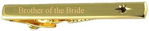 Select Gifts Brother of The Bride Wedding Title Gold Tie Clip Bar Red Ruby Crystal in Pouch