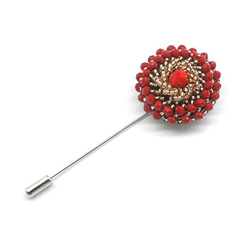 Blank K Men's Handmade Bead Lapel Pin Brooch Corsage Pin for Suit Wedding Business (Red)