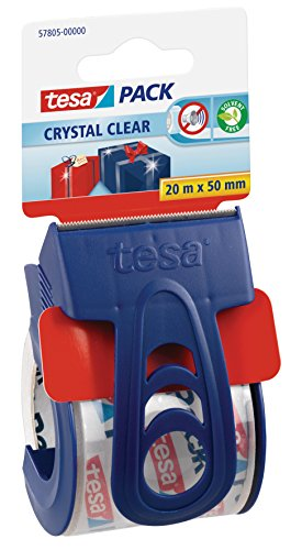tesa Packband, kristall-klar mit Einweg-Handabroller