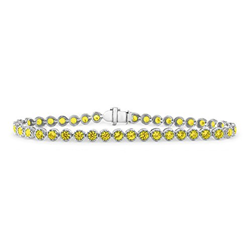 14K White Gold 4.10 Carat (ctw) Natural Real Round Cut Yellow Sapphire Tennis Bracelet For Women 7 Inches (Natural Sapphire Round Cut)