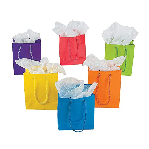 Fun Express Paper Gift Party Bags (Lot of 12), Small, Bright Neon