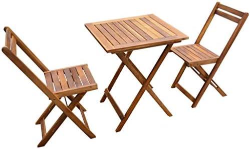 tidyard Set de Muebles Bistro 3 Piezas,Mesa y Sillas de Jardín Plegables para Jardín Patio Bistró Exterior Café Terraza,Cojines Extraíbles,Cojines de Respaldo,Madera Maciza Acacia: Amazon.es: Hogar
