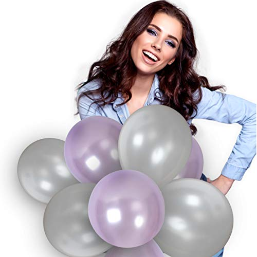 Purple And Silver Balloons 12 Inch Metallic Lavender Thick Latex Balloon Bulk Pack of 72 and 65 Yards Curling Ribbons Party Supplies for Romantic Event Wedding Bridal Baby Shower Birthday Decorations