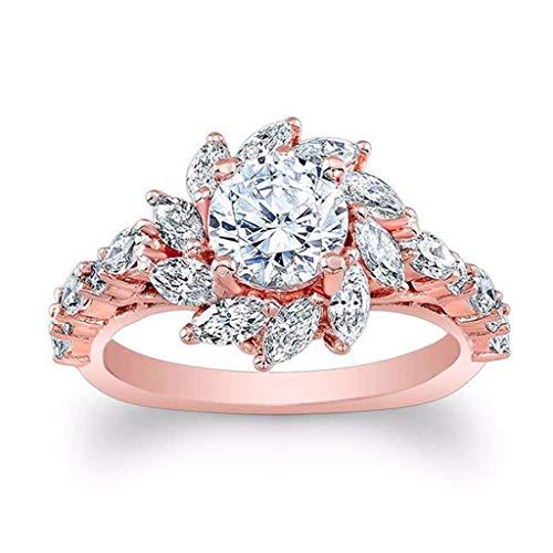 (Beppter Sunflower Shape Ring,Luxury Creative Design Flower Diamond Zircon Round Ring,Engagement Wedding Jewelry(Rose Gold,8))