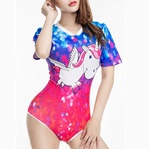 TEN@NIGHT Adult Baby Diaper Lover Onesie Unicorn ABDL Pajamas Snap Crotch Onesie for Women(Love Daddy) Blue