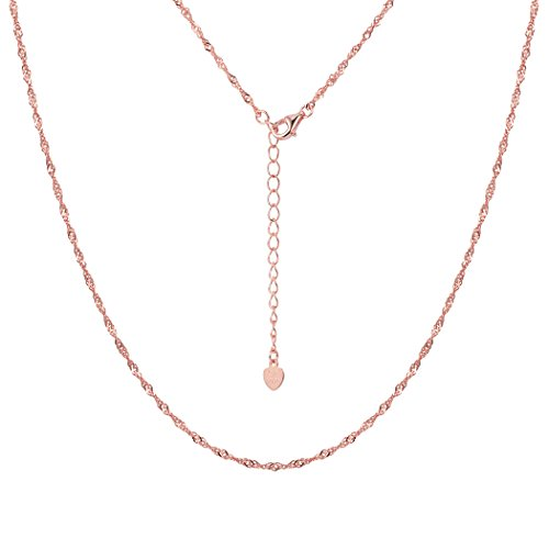 Women Girls 1.6mm Nickel Free Singapore Chain 18 Inch Rose Gold Sterling Silver Necklace, Nickel Free
