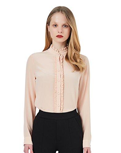 Pure Silk Shirt (Womens Silk Shirt Long Sleeve Pure Silk Shirt Button Down Pink Silk Blouse with Frill (S, Pink))