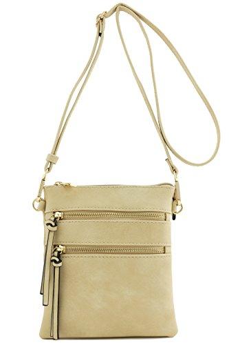 Functional Multi Pocket Crossbody Bag Beige (Shoulder Bag Down)