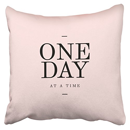 Emvency Decorative Throw Pillow Covers One Day Perseverance Quote Blush Pink Cushions Christmas New Year 16x16 Inches(40x40cm) One Side Square Pillowcases Cases Decor Couch Sofa (Blush Pink Dahlia)