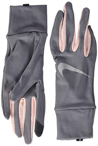 Nike Women`s Dry Fit Lightweight Tech Running Gloves (Silver(NRGM1070)/Pink/Reflective, Large)