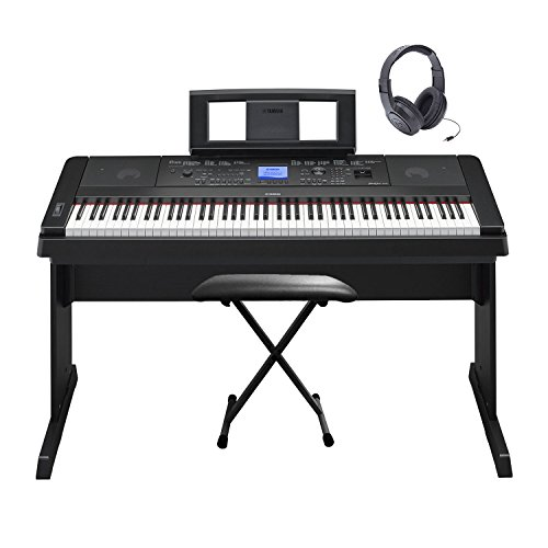 660 Stereo (Yamaha DGX660 88 Keys Portable GHS Weighted Hammer Action Pure CF Sound Engine Built In Amplifier and Speakers Digital Arranger Grand Piano Keyboard Kit with Keyboard Bench and Stereo Headphones)