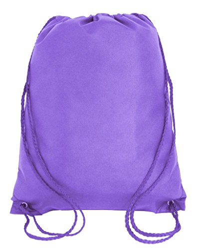 Promotional Non-Woven Drawstring Backpacks for Giveaway Favors or Daily Use, Purple, Set of 50