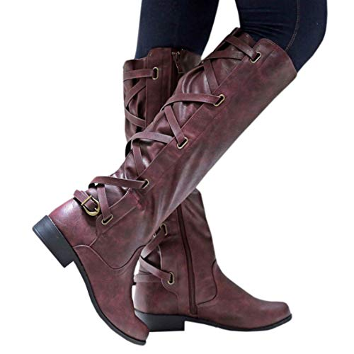 Meilidress Women Boots Winter Tall Riding Leather Strappy Flat Wine Red